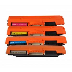 4 Pack BK/C/Y/M Combo Hp 126A CE310A(K)/CE311A(C)/CE312A(Y)/CE313A(M) Toner Cartridge New Compatible